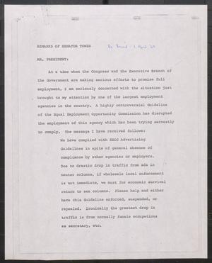 Primary view of object titled '[John Tower Speech about Equal Employment Guidelines, Apr. 1, 1969?]'.