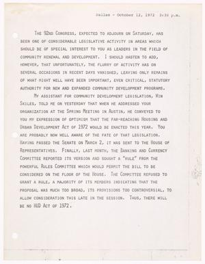 Primary view of object titled '[John Tower Speech about the defeat of the Housing and Urban Development Act of 1972 in Dallas, Oct. 12,1972]'.