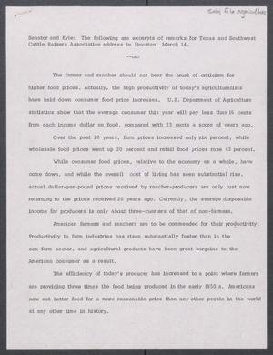 Primary view of object titled '[John Tower excerpts of remarks for Texas and Southwest Cattle Raisers Assoc. address, Houston, Mar. 14, 197u]'.