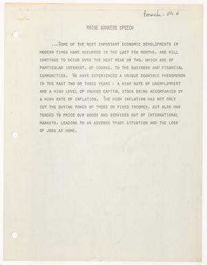 Primary view of object titled '[John Tower Speech to Maine Bankers about economic problems, 197u]'.