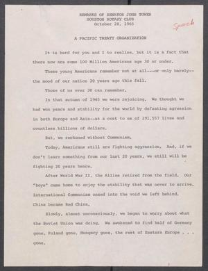 Primary view of object titled '[John Tower Speech on the Pacific Treaty Organization given to the Houston Rotary Club, October 28, 1965]'.