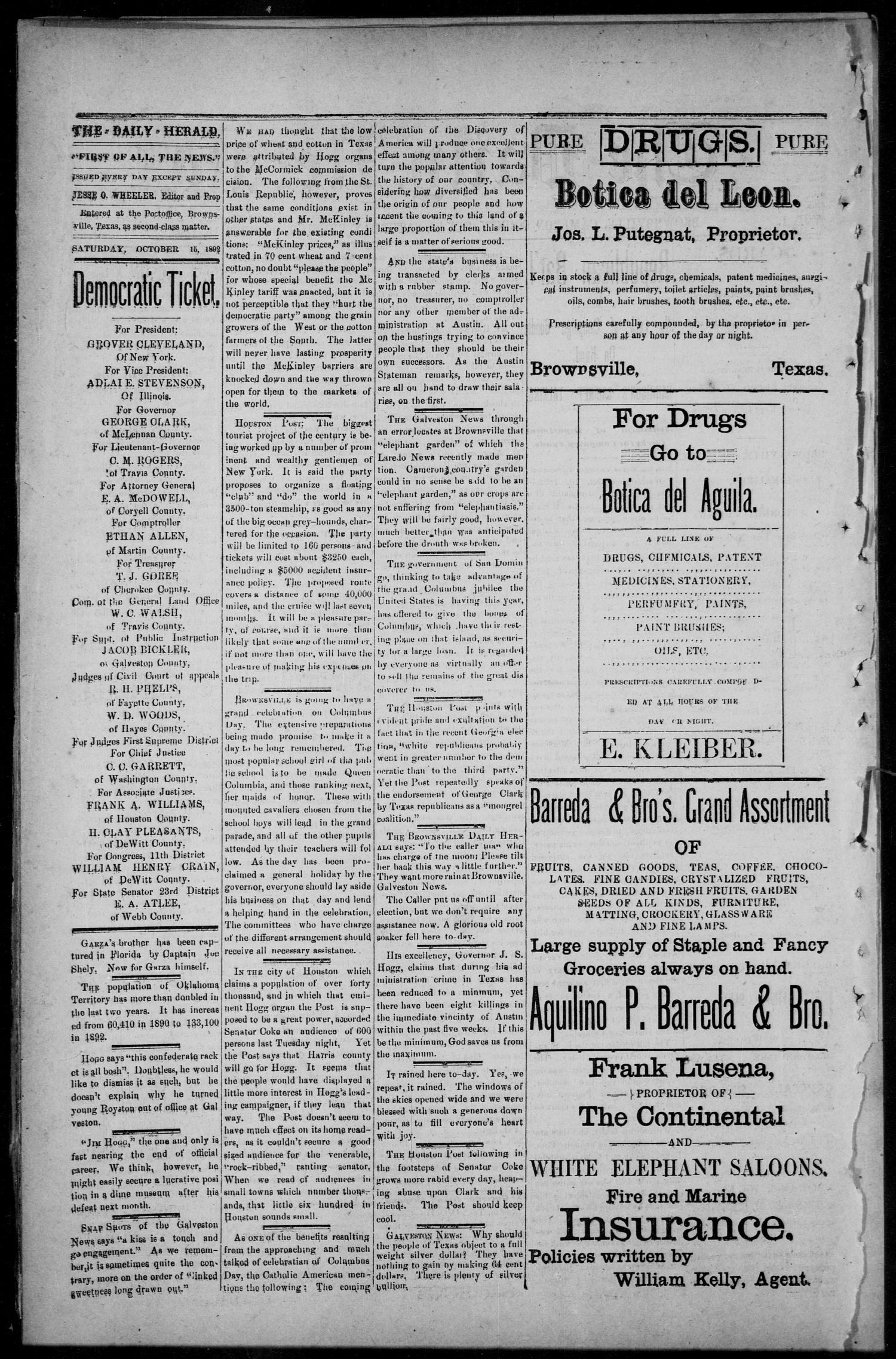 The Daily Herald (Brownsville, Tex.), Vol. 1, No. 90, Ed. 1, Saturday, October 15, 1892                                                                                                      [Sequence #]: 2 of 4