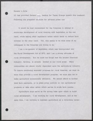 Primary view of object titled '[Press Excerpts for Tower Speech about Rural Development, 197u]'.