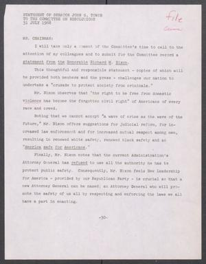 Primary view of object titled '[John Tower Speech on Richard Nixon's Crime Remarks given to the Committee on Resolutions, July 31, 1968]'.