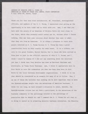 Primary view of object titled '[John Tower Speech on Minority Business Enterprise and Education given to the American GI Forum of Texas 28th Annual State Convention in Ft. Worth, Texas, July 9, 1976]'.