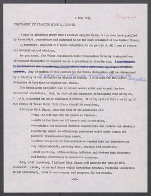 Primary view of object titled '[John Tower Speech Announcing Support for Richard Nixon, July 1, 1968]'.