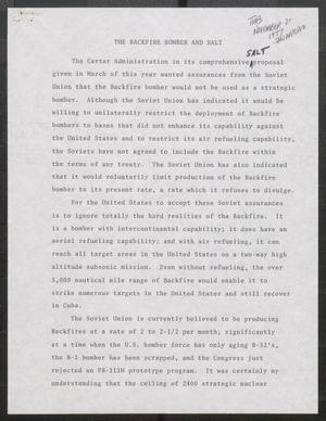 Primary view of object titled '[John Tower Speech about Backfire Bomber and Pending Defense Treaty with the Soviet Union, 1977?]'.