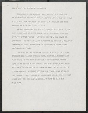 Primary view of object titled '[John Tower Speech Reclaiming Our National Greatness, Jan. 19, 1980]'.