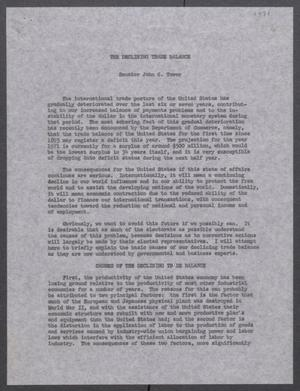 Primary view of object titled '[John Tower Speech on Declining U.S. Trade Balance, 1971?]'.