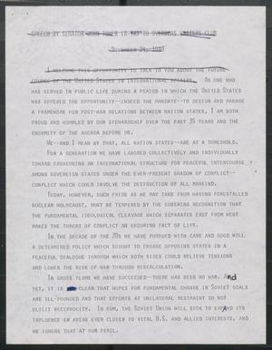Primary view of object titled '[John Tower Speech to Overseas Writers Club about United States and International Affairs, Nov. 24, 1980 - edit]'.