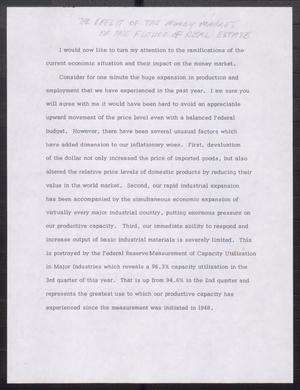 Primary view of object titled '[John Tower Speech on Inflation and the Money Market, 19uu]'.