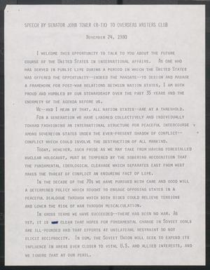 Primary view of object titled '[John Tower Speech to Overseas Writers Club about United States and International Affairs, Nov. 24, 1980]'.