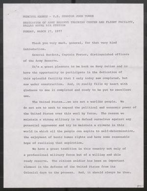 Primary view of object titled '[John Tower Speech on Military Reserves given at the Dedication of Army Reserve Training Center and Flight Facility at the Dallas Naval Air Station in Dallas, Texas, March 27, 1977]'.