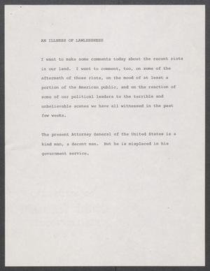 Primary view of object titled '[John Tower Speech about Riots, 1968?]'.