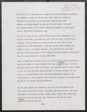 Primary view of object titled '[John Tower Speech about PACs [Political Action Committees] to Businessmen , Dallas?, Nov. 22, 1977?]'.