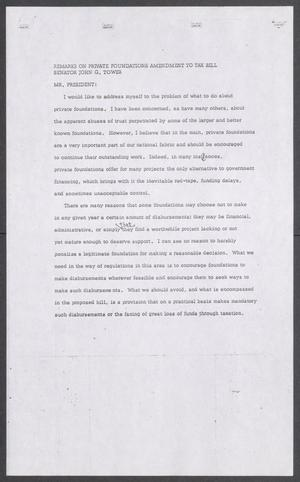 Primary view of object titled '[John Tower Speech on Private Foundations Amendment to Tax Bill, 19uu]'.