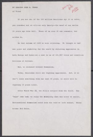 Primary view of object titled '[John Tower Speech on the Pacific Treaty Organization, 196u]'.