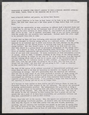 Primary view of object titled '[John Tower Speech on the Oil Industry given to the Desk & Derrick Industry at the Sheraton Inn in Tyler, Texas, October 5, 1976]'.