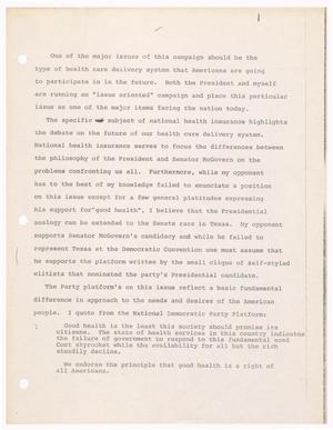 Primary view of object titled '[John Tower Speech about health care delivery system, n.d.]'.
