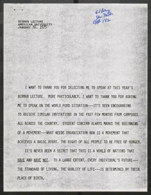 Primary view of object titled '[John Tower Speech about World Food Situation at Berman Lecture, American University, Jan. 30, 1975]'.