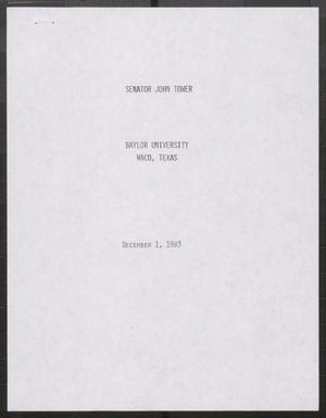 Primary view of object titled '[John Tower Speech on the Recovery of the U.S. Economy given at Baylor University in Waco, Texas, December 1, 1983]'.
