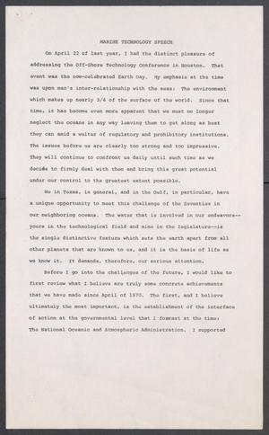 Primary view of object titled '[John Tower Speech on Marine Technology given to a Marine Industry Group in Houston, Texas, 1971?]'.