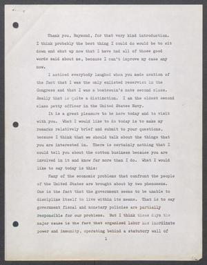 Primary view of object titled '[John Tower Speech on Labor Reform, 1972?]'.