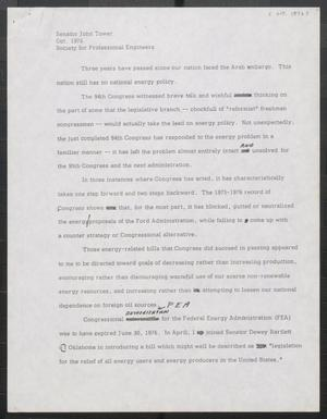 Primary view of object titled '[John Tower Speech on Federal Energy Policy given to the Society for Professional Engineers, October 1976]'.