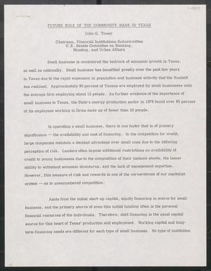 Primary view of object titled '[John Tower Speech about Future Role of the Community Bank in Texas, 1983?]'.