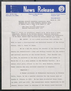 Primary view of object titled '[John Tower Speech to National Security Industrial Association about National Defense, March 25, 1982]'.