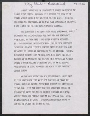 Primary view of object titled '[John Tower Speech about Economy to City Club Cleveland?, Oct. 14, 1980?]'.