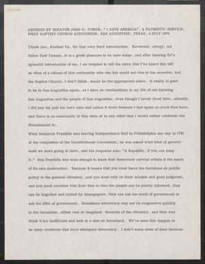 Primary view of object titled '[John Tower Speech, Fourth of July Address at First Baptist Church Service, San Augustine, TX, July 4, 1976]'.
