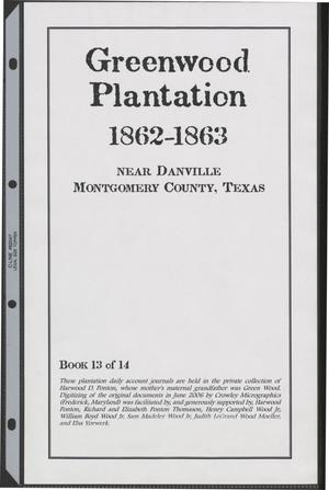Primary view of object titled '[Greenwood Plantation Accounts: 1862-1863]'.