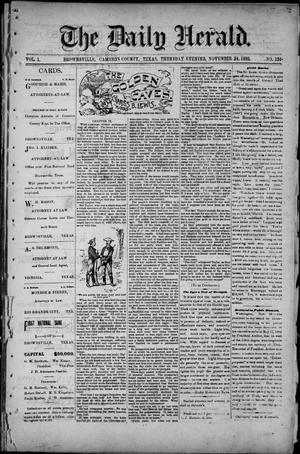 Primary view of object titled 'The Daily Herald (Brownsville, Tex.), Vol. 1, No. 124, Ed. 1, Thursday, November 24, 1892'.