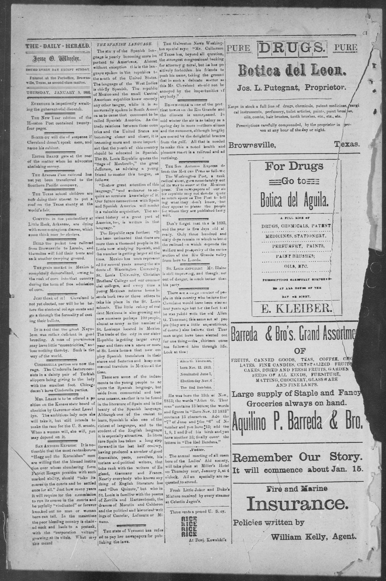 The Daily Herald (Brownsville, Tex.), Vol. 1, No. 160, Ed. 1, Thursday, January 5, 1893                                                                                                      [Sequence #]: 2 of 4