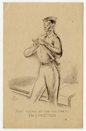 Primary view of object titled '[Postcard of Soldier Cleaning Sword]'.