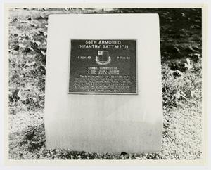 Primary view of object titled '[Photograph of 56th Armored Infantry Battalion Memorial Stone]'.