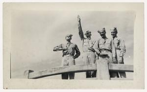 Primary view of object titled '[Photograph of Soldiers Mocking Axis Leaders]'.