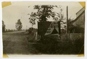 Primary view of object titled '[Photograph of Sign at Dillingen Bridge]'.