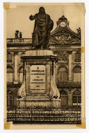 Primary view of object titled '[Postcard of Stanislas Statue]'.