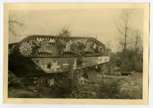 Primary view of object titled '[Photograph of Overturned Tank]'.