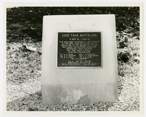 Primary view of object titled '[Photograph of 23rd Tank Battalion Memorial Stone]'.