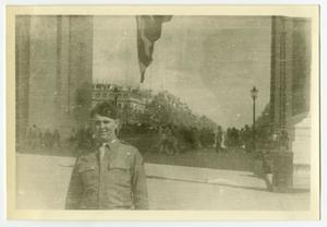 Primary view of object titled '[Postcard of Edward Johnson in Paris]'.