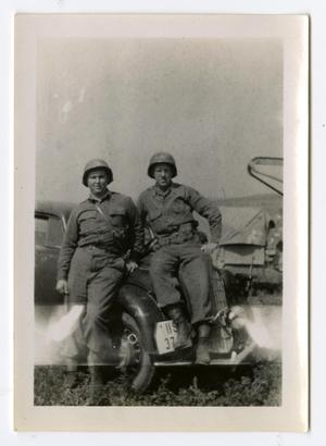 Primary view of object titled '[Photograph of Edward Johnson and Soldier]'.