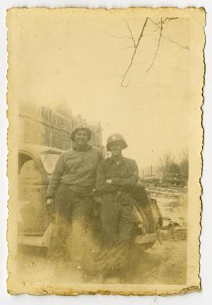 Primary view of object titled '[Photograph of Edward Johnson and Captain With Car]'.