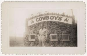 Primary view of object titled '[Photograph of Clarence Whitefield at Cowboy Reunion Hall]'.