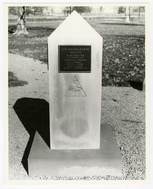 Primary view of object titled '[Photograph of 12th Armored Division Memorial Stone]'.
