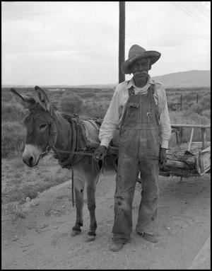 [Man Posing with Donkey]