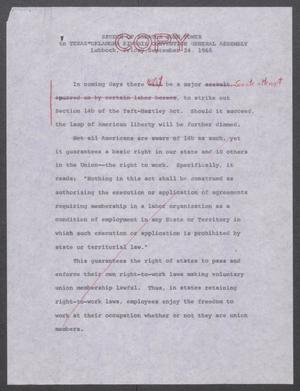Primary view of object titled '[John Tower Edited Speech on Right to Work given to the Texas-Oklahoma Kiwanis Convention General Assembly in Lubbock, Texas, September 24, 1965]'.