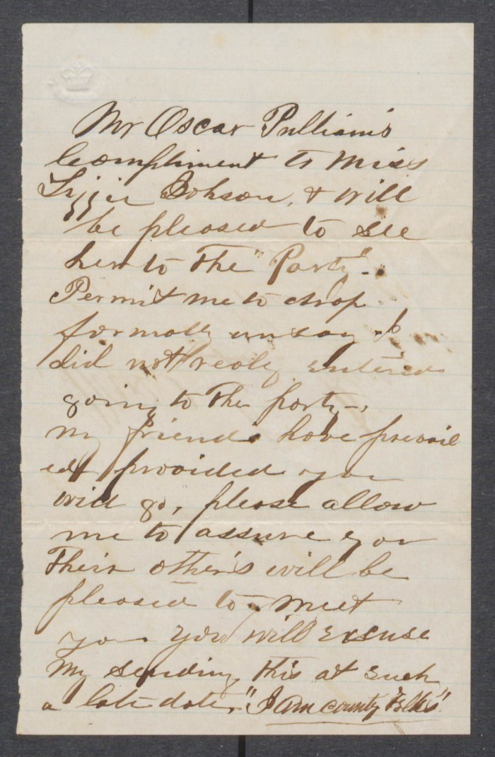 invitation from oscar palliamis to lizzie johnson undated the